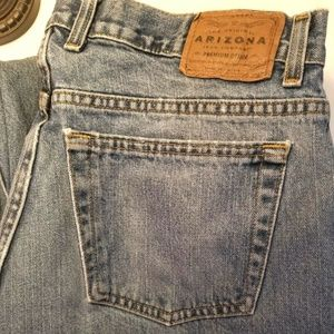 Arizona Relaxed Blue Denim Jeans Distressed M12-E
